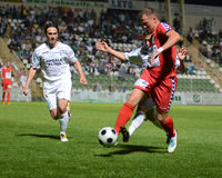 Jogo de futebol de Kaposvar - de Szolnok Fotos de Stock Royalty Free