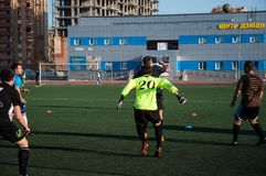Jogo de futebol o goleiros número 20 Fotografia de Stock
