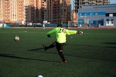Jogo de futebol o goleiros número 20 Imagens de Stock
