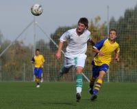 Jogo de futebol U15 Fotografia de Stock