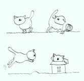 Jogo de gatos engraçados dos desenhos animados Fotos de Stock Royalty Free