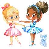 Jogo de Girl Friendship Character do dançarino de bailado Treinamento elegante afro-americano da bailarina com amigo caucasiano c ilustração royalty free