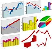 Jogo de gráficos de negócio 3d Imagens de Stock Royalty Free