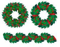 Jogo de grinaldas e de festão do azevinho do Natal. Foto de Stock Royalty Free
