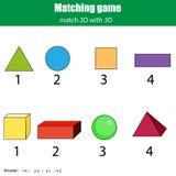 Jogo de harmonização Atividade educacional das crianças Aprendendo o tema geométrico das formas 2D e 3D Fotografia de Stock Royalty Free