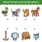 Jogo de harmonização para crianças Animais do fósforo e objetos apropriados Imagens de Stock Royalty Free