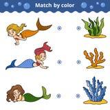 Jogo de harmonização para crianças Fósforo pela cor, sereias Fotografia de Stock Royalty Free