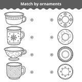 Jogo de harmonização para crianças Placas e canecas de fósforo pelo ornamento ilustração do vetor