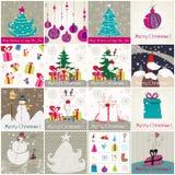 Jogo de ilustrações bonitos do Natal Imagem de Stock Royalty Free