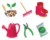 Jogo de jardinagem do ícone Fotografia de Stock Royalty Free