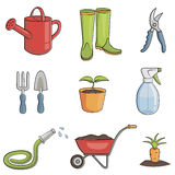 Jogo de jardinagem do ícone Imagem de Stock Royalty Free