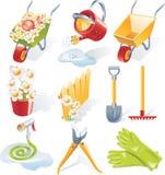 Jogo de jardinagem do ícone do vetor Fotografia de Stock Royalty Free