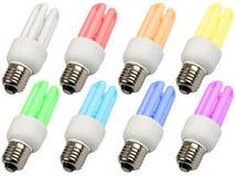 Jogo de lâmpadas compactas coloridas da iluminação Fotografia de Stock