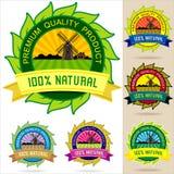 Jogo de logotipos, de etiquetas, de emblemas e de etiquetas orgânicos Foto de Stock Royalty Free