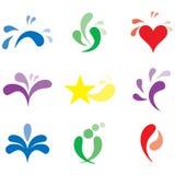 Jogo de logotipos de marcagem com ferro quente bonitos, elementos do projeto Foto de Stock Royalty Free