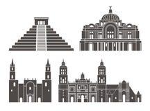 Jogo de México Arquitetura isolada de México no fundo branco Imagem de Stock Royalty Free