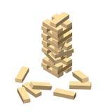 Jogo de madeira Blocos de madeira Vector a ilustração eps 10 isolada no fundo branco Estilo isométrico dos desenhos animados Foto de Stock