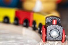 Jogo de madeira do trem do brinquedo Fotos de Stock Royalty Free