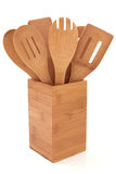 Jogo de madeira do utensílio imagem de stock royalty free
