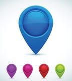 Jogo de marcadores coloridos do mapa Fotografia de Stock
