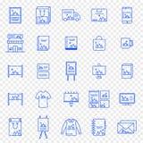 Jogo de marcagem com ferro quente do ícone 25 ícones do vetor embalam ilustração royalty free