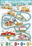 Jogo de mesa (cidade) dos desenhos animados - inverno Fotos de Stock