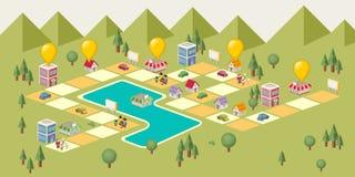 Jogo de mesa com os povos na cidade ilustração royalty free