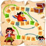 Jogo de mesa com pirata, papagaio, o Roger alegre e a arca do tesouro ilustração royalty free