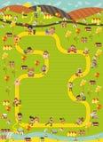 Jogo de mesa com um trajeto do bloco na cidade com povos dos desenhos animados ilustração royalty free