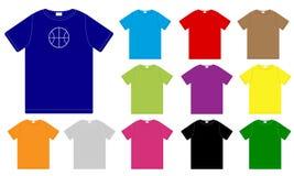 Jogo de moldes dos t-shirt da cor ilustração stock