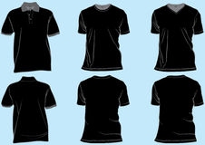 Jogo de moldes pretos da camisa Fotos de Stock