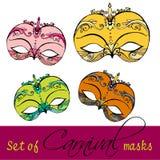 Jogo de máscaras do carnaval Fotos de Stock
