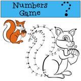 Jogo de números com contorno Esquilo bonito pequeno Imagem de Stock