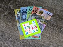 Jogo de números, notas do dólar australiano imagens de stock