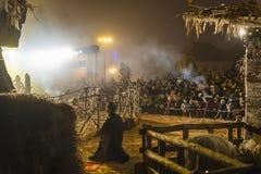 Jogo de natividade para o Natal, Zagreb, Croácia fotos de stock