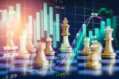 Jogo de negócio no mercado de valores de ação digital financeiro e no backgr da xadrez Foto de Stock Royalty Free