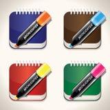 Jogo de notas e de highliters brilhantes e coloridos Imagem de Stock