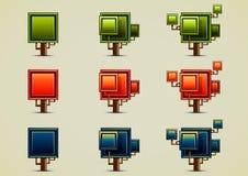 Jogo de nove árvores diferentes Fotos de Stock