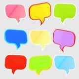 Jogo de nove bolhas do discurso do texto isoladas Imagens de Stock Royalty Free
