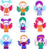 Jogo de nove bonecas coloridas do anjo. Imagem de Stock