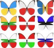 Jogo de nove borboletas coloridas em bandeiras nacionais Foto de Stock Royalty Free