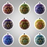 Jogo de nove esferas do Natal com o ornamento Imagens de Stock