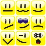 Jogo de nove smiley ilustração do vetor