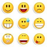 Jogo de nove smiley ilustração stock