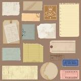 Jogo de objetos de papel velhos Fotografia de Stock Royalty Free