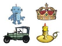 Jogo de objetos do vintage Fotografia de Stock Royalty Free