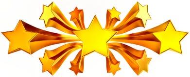 Jogo de onze estrelas brilhantes do ouro no movimento Fotografia de Stock Royalty Free