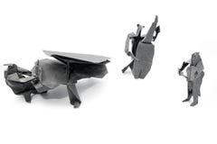 Jogo de Origami compor dos músicos fotografia de stock