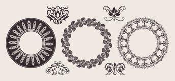 Jogo de ornamento de uma beira do laço do círculo de cor. ilustração do vetor