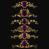 Jogo de ornamento do damasco do vetor Fotografia de Stock Royalty Free